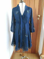FROCK AND FRILL NAVY BLUE FLOATY CREPE MIDNIGHT SEQUIN MINI DRESS UK 8 10 BNWT