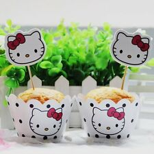 24pcs Hello Kitty Cupcake Toppers Muffin Wrappers Party Kids Birthday Baby Decor