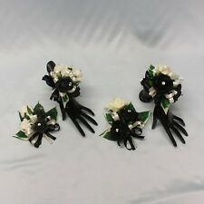 WEDDING FLOWERS/PROM LADIES BRIDESMAID CORSAGE PACKAGE BLACK DIAMANTE CRYSTAL