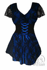 Dare To Wear Victorian Gothic Plus Size Sweetheart Corset Top in Blueberry