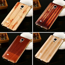New Wood Pattern Cover + Aluminum Metal Frame Case Back Skin For Samsung iPhone