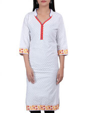 Indian Women's Cotton White Kurti Kameez Top Ethnic Dress Embroidered Top Tunic