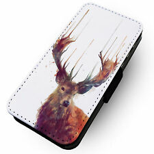 Liquid Stag -Printed Faux Leather Flip Phone Cover Case- Nature Beauty Paint
