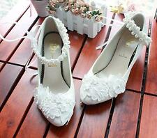 Women's wedding bride Shoes bowknot ankle strap pearl Shoes Lace Flower heels
