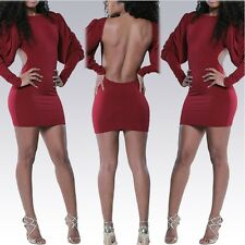 Sexy Women Open Back Long Puff Sleeve Bodycon Slim Party Formal Cocktail Dress