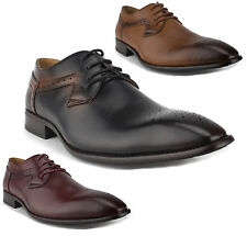 Men's Leather Lined Distressed Perforated Toe Lace Up Oxfords Dress Shoes 97712