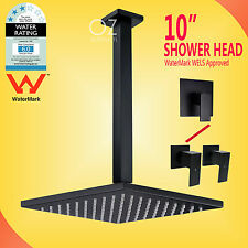 "WELS Matt Black 10"" Square Rainfall Shower Head Ceiling Arm Set Mixer Twin Taps"