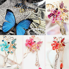 New Retro Bobby Pin Flower Butterfly Hairpin Colorful Rhinestone Hair Claw 1pcs