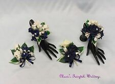 WEDDING FLOWERS/PROM LADIES CORSAGE PACKAGE NAVY BLUE ROSES DIAMANTE CRYSTAL