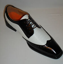 Antonio Cerrelli 6608 Mens White & Black Classic Spectator Fashion Dress Shoes