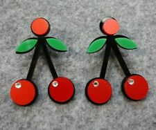 FUNKY FRUITY CHERRY SUMMER EARRINGS ROCKABILLY CUTE HAWAIIAN PARTY DANGLY DROP