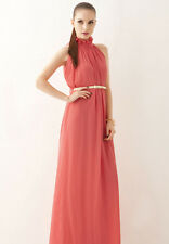 Maternity Coral Pink Wedding Party Evening Maxi Dress Gown Long Prom Dress
