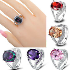 Oval Cut Morganite Garnet Amethyst Rainbow Pink White Topaz Gemstone Silver Ring