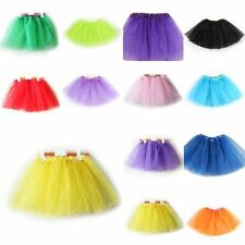 3 Layer Tulle Ballet Dance Skirt Child Costumes Kids Girl Solid Color Tutu Dress