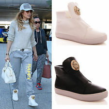 LADIES WOMENS HI TOP TRAINERS FASHION FLAT SNEAKERS CASUAL SHOES SIZE