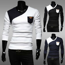 Mens Long Sleeve Primer T-Shirt Unique Splicing V-Neck Slim Fit Casual Shirt New