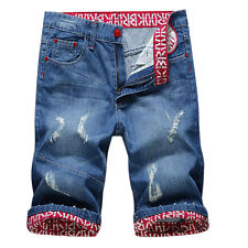 New Fashion Denim Shorts Casual Punk Mens Ripped Holey Jeans Shorts Pants