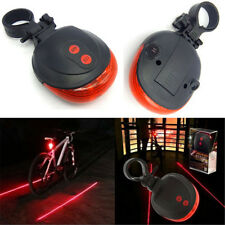 Red 5 LED+ 2 Laser Cycling Safety Bicycle Warning Flashing Bike Rear Tail Light