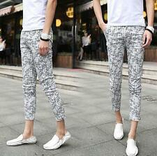 Men's summer slim fit pencil floral print shorts cropped pants casual trousers