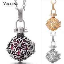 Vocheng Bola Ball Flower Cage Locket Necklace Stainless Steel Chain VA-045
