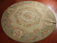 Large Round Chic Shabby Vintage Aubusson Design Hand-Woven Wool Needlepoint Rug