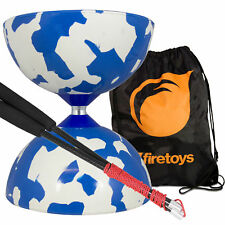 Blue/White Jester Diabolo & Carbon Fibre Diablo Sticks Set with FT Bag