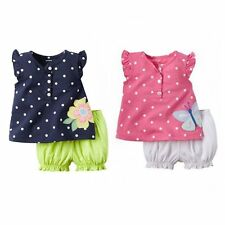 2PCS Kids Clothes Outfit Baby Girls T-shirt Tops+Shorts Pants Trousers Set