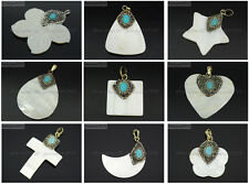 Natural Mother Of Pearl Shell Turquoise Crystal Rhinestones Pendant Charm Beads