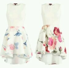 New Womens Ladies Floral Printed Skirt High Low Skater Dress UK Size 8-16