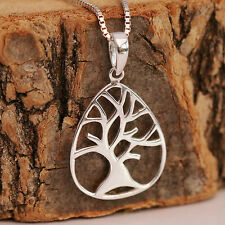 925 Sterling Silver Tree Of Life Oval Pendant Necklace Handcrafted With Gift Box