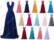 Long V-Neck  Beading Chiffon Bridesmaid Formal Party Evening Prom Dress