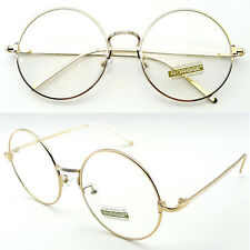Classic Big Round Sunglasses Eyewear Metal Frame Clear Lens Glasses Spectacles