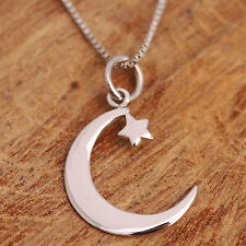 925 Sterling Silver Crescent Moon and Star Pendant Necklace Handcraft w Gift Box