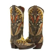 Womens Brown Beige Leather Cowboy Cowgirl Boots Western Feathers Plumas Wings