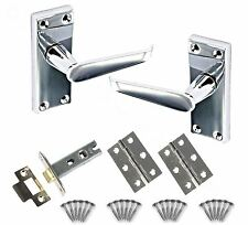 Flat Internal Chrome Door Handle Lever Pair with Back Plate Kit inc Latch Hinges