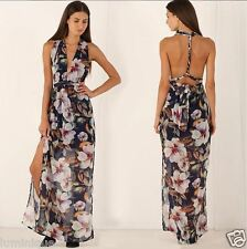 Sexy Halter Tiered Maxi Dress Floral S 8 10 Open Back Twist Hot Plunging Top NEW