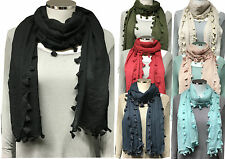 Tassel Maxi Big Large Scarf Wrap Shawl Hijab Sarong Tassle Soft Plain Wrap