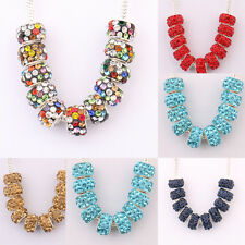 11x7mm 10PCS 5Color Czech Big Hole Loose Spacer Alloy Rhinestone Beads Accessory