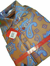 Mens Leonardi High Collar Shirt Edition 380 Copper Sheen & Lovely Blue Paisley