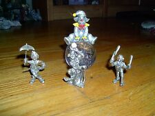 VINTAGE-PEWTER CLOWNS- LOT OF 4-PAPER WEIGHT W/PEWTER CLOWN ON TOP-3 MINI CLOWNS