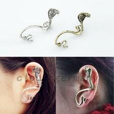 Punk Cobra Snake Gothic Stud Earrings Ear Cuff Clip Jewelry Halloween Party Gift