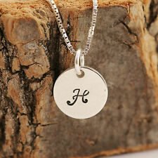 925 Sterling Silver Round Charm Pendant Necklace &Personalised Initial &Gift Box
