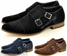 Mens Leather Lined Double Monk Strap Slip On Formal Wedding Shoes UK Sizes 5-11