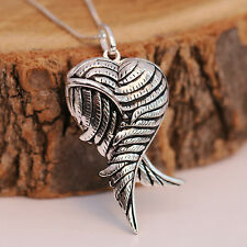 925 Sterling Silver Antiqued 3D Angel Wing Love Heart Locket Pendant Necklace
