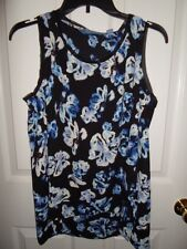 SIMPLY VERA WANG BLACK BLUE WHITE FLORAL CHIFFON TANK TOP CAMI BLOUSE S XL NWT