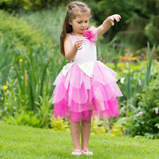 BUY GIRLS KIDS PINK ROSE FLOWER FAIRY PRINCESS PARTY FANCY DRESS COSTUME AGE 3-8