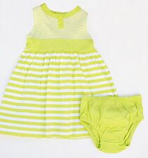 Carter's baby girl green striped cotton sleeveless dress & diaper cover 6 months