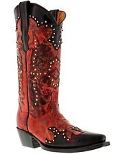 Women's Black Red Studded Western Leather Cowboy Cowgirl Rodeo Boots Riding New