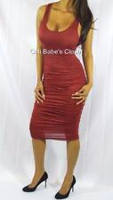 SEXY BURGUNDY LOW CUT CLEAVAGE CURVE HUGGIN RUCHED COCKTAIL MIDI CLUB DRESS DR14