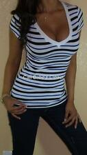 SEXY WHITE BLUE PREPPY STRIPES V NECK LOW CUT CLEAVAGE STRETCH BASIC TEE TOP BT3